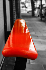 Red Seat (Charliebubbles) Tags: blackandwhite bw canon eos mono busstop colourpop redseat 400d canoneos400d 160509