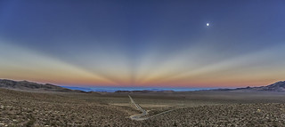Emigrant Pass, The Old Spanish Trail, Anticrepuscular Rays, and The Moon