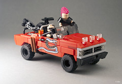 Mad Max  The Road Warrior: Snake Truck _06 (_Tiler) Tags: ford car truck lego snake vehicle chopped tatoo snakes madmax towtruck wez dogsofwar madmax2 theroadwarrior 1972fordtruck