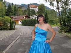 Shiny satin folds (Paula Satijn) Tags: blue sexy girl smile lady outside happy austria shiny dress silk skirt tgirl transvestite chic gown satin gurl classy elegance ballgown kitzbhel