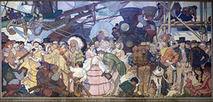 """""""Americanization,"""" one of four """"great eras of California history"""" murals by Dean Cornwell at the Central Library in downtown Los Angeles, California. (bennetthall) Tags: california losangeles unitedstates libraries murals losangelescentrallibrary deancornwell carolmhighsmith"""