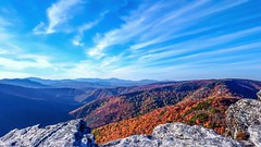 Linville Gorge Wilderness in Autumn (Moments With Brad) Tags: camping autumn sky sun mountains leaves clouds photography hiking northcarolina climbing linvillegorge hawksbillmountain fallleavestreesseasonsnatureoutdoorscolorsphotography