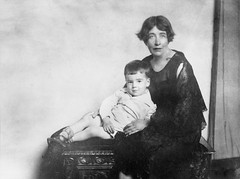 Sylvia Pankhurst with a young boy [possibly her son?], c.1928 - c.1932.