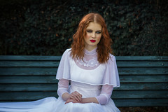 Waiting (Anne Costello 2) Tags: wedding red white girl vintage garden hair bride waiting pretty mood dress lips redhead dreamy freckles