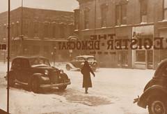 Portage Register Democrat, View out Snowy Storefront