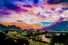 sunset (Kai-Ming :-))) Tags: kaiming kmwhk hongkong yaumateityphoonshelter hongkongisland greenisland kauyichau sunset colorful cloud creative light evening seawater building ferry stareffect effect sony ilce7m2