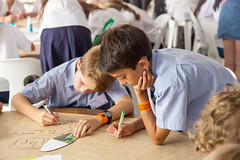 Students working to design their water security solution at the Future BNE Challenge. (Brisbane City Council) Tags: children diversity futurebnechallenge greenheart greenheartschools kids multicultural people schoolagechildren schoolchildren schooluniform worldsciencefestival