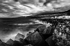 Tenerife (krelina) Tags: bw blackwhite coast harbor sea waves ocean longexposure sapin tenerife