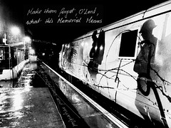 Atmosphere/At the Cenotaph (sjpowermac) Tags: cenotaph armistice 91111 forthefallen class91 electric locomotive doncaster railway rain sassoon siegfried poetry remembrance barbedwire paulgentleman atmosphere poppy trenches