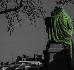 (C-47) Tags: selective colors canon eos 400d cemetery cimetire composition statue paris green roofs trees branches sky shadow meaningful sad sadness