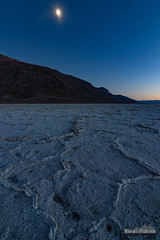 Badwater Moon (kevin-palmer) Tags: deathvalley deathvalleynationalpark nationalpark california mojavedesert badwaterbasin saltflats salty hot clear blue sky evening nikond750 november fall autumn tokina1628mmf28 mountains twlight moon moonlight moonlit