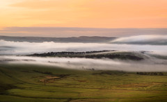 Waves (manphibian) Tags: mam tor peak district fog foggy rolling mist misty sunrise sunset fields countryside cloud inversion inverted sony sonya7 sonya7r contax g90 landscape derbyshire morning pastel skies clouds cloudporn