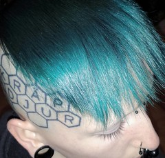 Arachnideer012 (Arachnideer) Tags: arachnideer zackaryrowe zackrowe tealhair aquahair turquoisehair hair teal turquoise headtattoo geometrictattoo hexagons alternativeguy paleskin punk alternative zackroadkill