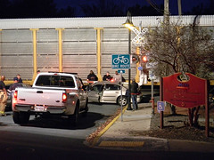 Q249 vs Car (Photo Squirrel) Tags: maryland brunswickmaryland brunswick railroad railroadcrossing train ambulance people night csxt csx carstrike collision accident truck car sign bikeroute