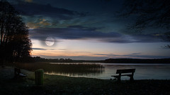 Sky. (augustynbatko) Tags: sky moon lake nature landscape water clouds cloud outdoor