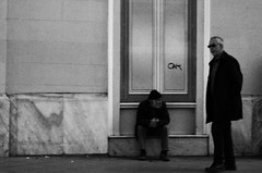 at the mercy of maria (Sali_Boom) Tags: blackandwhite streetphotography people strangers city door street panhandler homeless