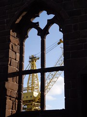 Old and New (catz5555) Tags: birkenhead merseyside priory shipyard window view crane industry
