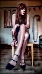 Azzurro (Steph Angel) Tags: stephangel steph girl feminine female femme transvestite tranny trans gender tgirl dress longlegs legs tights highheels heels hair longhair makeup mascara lipstick shoes minidress blue