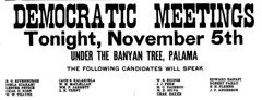 Democratic Meeting (UH Manoa Library) Tags: dns chroniclingamerica hawaii newspaper microfilm ndnp history historical news digitization digitisation vintage old historic american hawaiian political ad advertisement