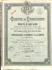 COMUNE DI ORBASSANO (scripofilia) Tags: 1896 comune comunediorbassano obbligazioni orbassano