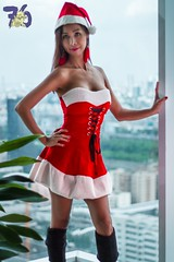 Mrs Claus II-2 (Chindit76) Tags: santaclaus mrsclaus christmas xmas holiday pretty filipina asian sexy sexysanta thailand dress hat brunette festive model woman girl beautiful pinay highrise bangkok kneelength boots watermarked