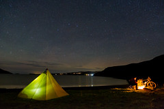 An Evening under the stars, Loch Bay, Isle Of Skye (Photography by RayReeder) Tags: camping tent bike cycle fire camp stars meteors shore water loch mccgallery rayreeder plough constellation ursamajor