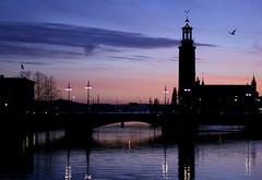 Sunset over Stockholm (KelJB) Tags: stadhuset nightphotography bridge water colours landscape silhouette shadows silhouetteshadows sunset sweden stockholm