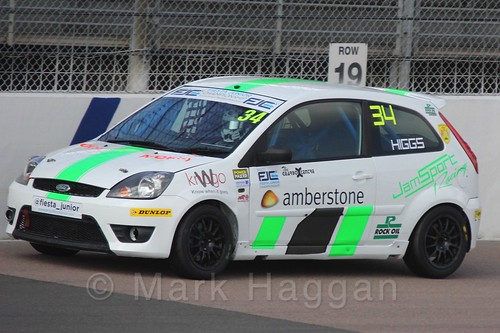 Michael Higgs in Race 1, Fiesta Junior Championship, Rockingham, Sept 2015