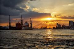 Port of Hamburg (Passie13(Ines van Megen-Thijssen)) Tags: city sunset haven port canon river germany deutschland zonsondergang sonnenuntergang hamburg stadt hafen fluss stpauli elbe stad duitsland rivier inesvanmegen inesvanmegenthijssen