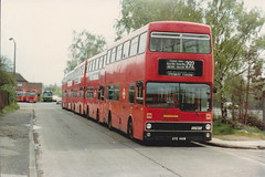 M 410 / 465 / 383 / 430 /454 . Edgware LT garage  . 4/5/81 (busmothy) Tags: lt metrobus londontransport mcw edgeware busspotter m430 m410 m454 m465 rf183 gye430w m383 mll570 gye465w gye454w gye410w gye383w