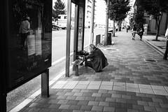 Kyoto_Bus Stop (Vincent Albanese) Tags: life street light people bw woman sunlight man bike japan shop dark walking photography japanese fuji shadows candid transport sydney inspired streetphotography saturday australia pedestrian smoking explore adobe biking fujifilm midday learn shopfront brilliance lightroom amatuer shopkeeper allpeople presets 23mm mirrorless xpro1 inspiredeye lightroom5 xf23mm x100s xf27mm elephantgunpreset