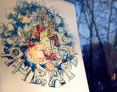 Happy January2 (an.prosochkina) Tags: christmas winter snow color colour childhood illustration fairytale cat project children happy sketch child calendar drawing year sketching january happiness newyear watercolors holliday watercolours sketchlab calendarsketchlab