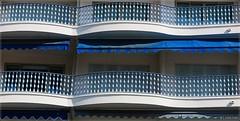 Waves (nathaliedunaigre) Tags: bleu blue btiment architecture balcons ferronerie juanlespins effets effects