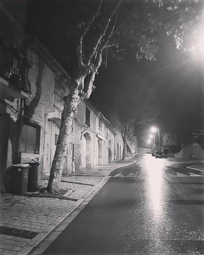 The main drag in Corneilhan  for our last night here after 5 weeks. Raining. #corneilhan #france #french #languedoc #wet #rainydays #streetscene #road #night #photography #nightscene #village #monochrome #monochromatic #monochromephotography #blackandwhit