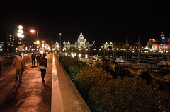 Victoria BC (panfriedcharlie) Tags: victoria britishcolumbia parliment night wetpavement street drunk harbor boats innerharbour