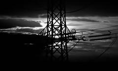 Pylon Skys (Missy Jussy) Tags: pylon sky clouds sunlight canon cannon600d canon70200mm mono monochrome blackwhite bw structures rochdale silhouette