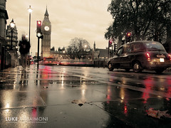 Westminter Taxi in the rain (Luke Agbaimoni (last rounds)) Tags: bigben taxi taxis city cityscape london england uk reflection rain mirror sepia