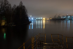 Sleeping abode of tugboats -    (Valery Parshin) Tags: russia ingermanland night pier reflection trees river light neva canoneos600d canonefs24mmf28stm valeryparshin saintpetersburg stpetersburg
