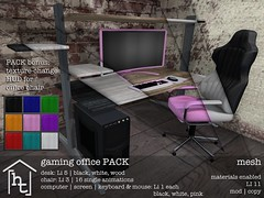 [ht:home] gaming office PACK (Corvus Szpiegel) Tags: hate this hatethis ht home original mesh material materials enabled diffuse texture normal specular map geeksnnerds geek nerd office desk chair gaming computer monitor screen pc keyboard mouse black white pink wood leather metal steel widescreen furniture decoration decor deco sl second life secondlife
