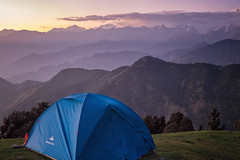 Camp (gautam023) Tags: gautam pardake chandrashila clouds deoriatal hills india landscape mountains uttarakhand colours sunset camp tent bhrujgali chopta peaks meadows green