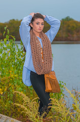 TAYLOR (jlucierphoto) Tags: beauty girl hot sexy brunette woman young pretty portrait outdoor pose trees water fall autumn lovelyflickr