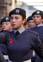 Cadet, Air Training Corps, Remembrance Sunday Parade, Canterbury, 13 Nov 2016 (chrisjohnbeckett) Tags: airtrainingcorps atc cadet poppy remembrancesunday portrait street urban armedforces parade chrisbeckett canonef135mmf2lusm beret canterbury photojournalism red march