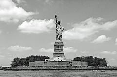 Statue of Liberty from ferry (cmfgu) Tags: newyorkcity nyc newjersey nj jerseycity libertystatepark newyork ny statueofliberty ferry boat bw blackandwhite