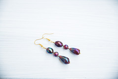 Handmade earrings with beads and iridescent vintage glass beads (amoretro) Tags: earrings long red glass beads handmade gift retro 20s iridescent