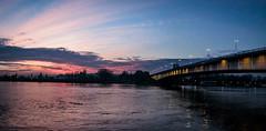 Sava river @ dusk (view from coast) (I.C. Photo) Tags: sava river belgrade beograd serbia srbija gloaming dusk aftersunset red expressivesky sky water bridge panorama