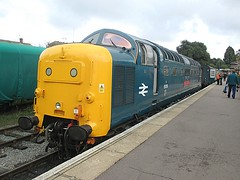 Deltic 55019 is about to couple up to the stock at Ongar, EOR Epping Ongar Railway 08.10.16 (Trevor Bruford) Tags: eor epping ongar heritage railway br blue train diesel locomotive deltic d9019 9019 55019 royal highland fusilier napier ee english electric dps preservation society