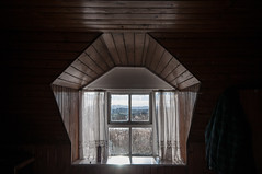 He'll miss this view. They'll miss his point of view. (James_at_Slack) Tags: aberdeenshire abandoned ruraldecay ruralexploration panesofabandonment window windowframe tongueandgroove lacecurtains curtains windowsill derelict scotland jamesdyasdavidson