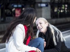 Nathalie & Jet, Amsterdam 2016: Release (mdiepraam (35 mln views)) Tags: nathalie amsterdam 2016 centraal station platform portrait pretty beautiful elegant dutch brunette girl naturalglamour bokeh scarf blonde
