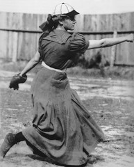 #Alta Weiss, one of the first women to play semi-pro baseball, pitching in a long wool dress and a baseball cap (ca. 1910). Her original dress is located at the National Baseball Hall of Fame and Museum. [804 x 1000] #history #retro #vintage #dh #HistoryP (Histolines) Tags: histolines history timeline retro vinatage alta weiss one first women play semipro baseball pitching long wool dress cap ca 1910 her original is located national hall fame museum 804 x 1000 vintage dh historyporn httpifttt2gh2qds