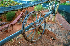 Broken Spoke (Herculeus.) Tags: 1924 2016 antiques country day fall fences gouldings landscape landscapes monumentvalley nativeamerican navaho navahonation oct outdoor ut 5photosaday wheel wagon